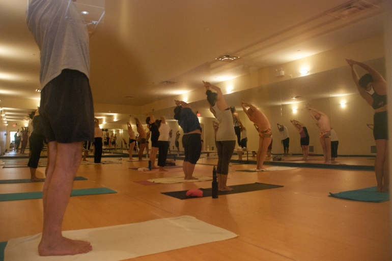The spacious and oh-so-hot yoga room.